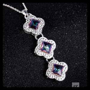 .925 Sterling Mystic Topaz Triple Clover Necklace
